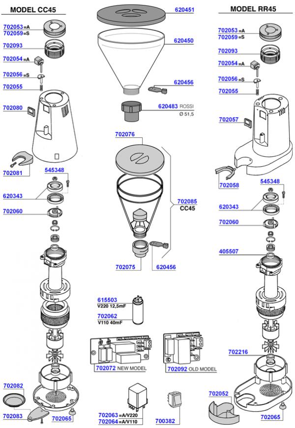 Boema - Cc45 / rr45 grinder parts