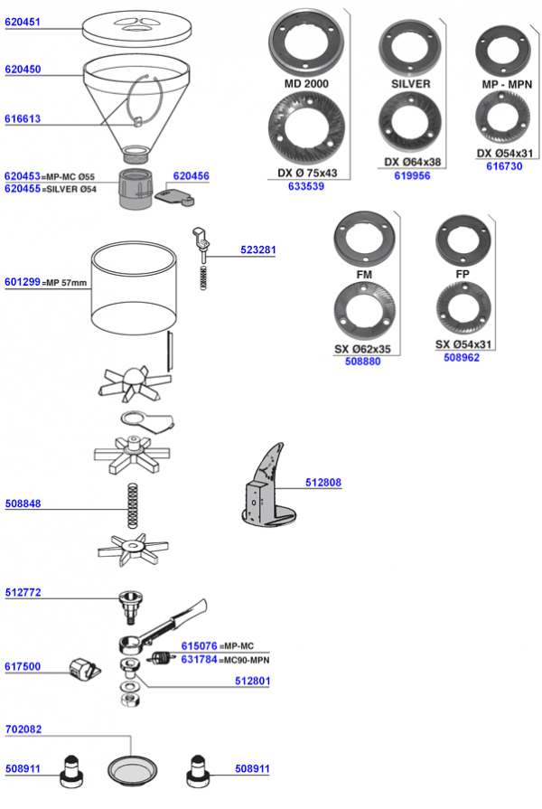 Faema - Hopper and doser parts