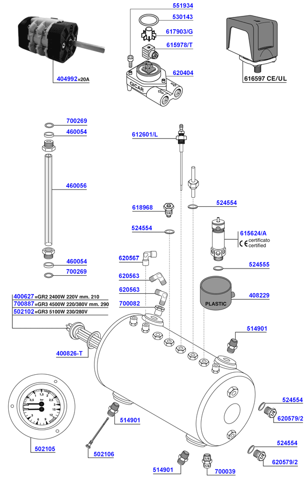 San Remo - Elements and boiler components