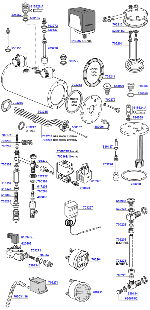 Spaziale - Elements and boiler components