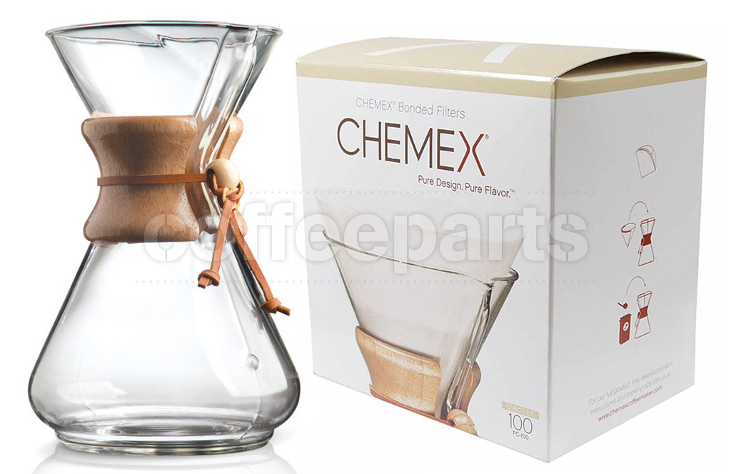 Chemex 10-Cup Pour Over Coffee Kit inc 100 filters ...