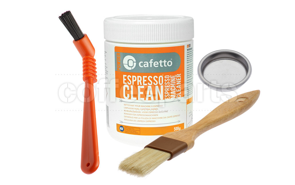 Essential Cleaning Kit inc Cafetto 500g, Blind Filter, Brushes