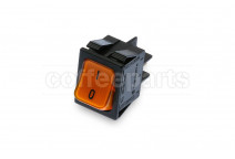 Orange 2-pole luminous switch