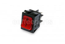 Red 2-pole luminous switch