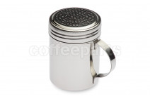 Stainless chocolate shaker with perforated holes and handle