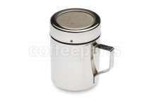Stainless chocolate shaker with mesh top and handle