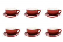 Premier Tazze 220ml cappuccino bowl cups and saucer, set of 6 colour: brown