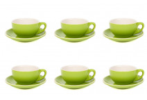 Premier Tazze 220ml cappuccino bowl cups and saucer, set of 6, colour: green