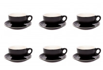 Premier Tazze 220ml cappuccino bowl cups and saucer, set of 6, colour: matt black