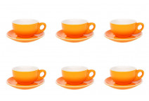 Premier Tazze 220ml cappuccino bowl cups and saucer, set of 6, colour: orange
