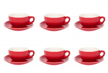 Premier Tazze 220ml cappuccino bowl cups and saucer, set of 6, colour: red