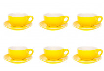 Premier Tazze 220ml cappuccino bowl cups and saucer, set of 6, colour: yellow