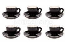 Premier Tazze 80ml espresso tulip cups and saucer, set of 6, colour: black