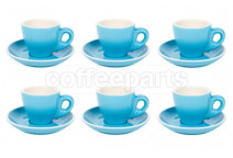 Premier Tazze 80ml espresso tulip cups and saucer, set of 6, colour: sky blue