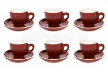 Premier Tazze 80ml espresso tulip cups and saucer, set of 6, colour: matt brown