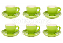 Premier Tazze 80ml espresso tulip cups and saucer, set of 6, colour: green