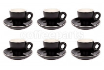 Premier Tazze 80ml espresso tulip cups and saucer, set of 6, colour: matt black