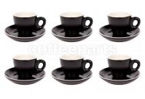 Premier Tazze 80ml espresso tulip cups and saucer, set of 6, colour: matt black