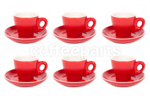 Premier Tazze 80ml espresso tulip cups and saucer, set of 6, colour: red