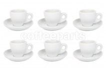Premier Tazze 80ml espresso tulip cups and saucer, set of 6, colour: white