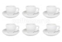 Premier Tazze 80ml espresso tulip cups and saucer, set of 6, colour: white