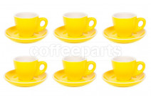 Premier Tazze 80ml espresso tulip cups and saucer, set of 6, colour: yellow