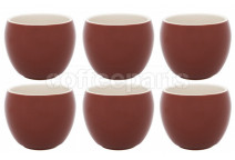 Premier Tazze 280ml hot chocolate large bowl, set of 6, colour: brown