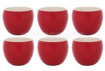 Premier Tazze 280ml hot chocolate large bowl, set of 6, colour: red