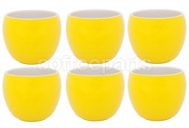 Premier Tazze 280ml hot chocolate large bowl, set of 6, colour: yellow