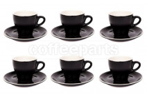 Premier Tazze 180ml cappuccino tulip cups and saucer, set of 6, colour: black