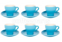Premier Tazze 180ml cappuccino tulip cups and saucer, set of 6, colour: sky blue