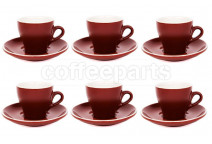 Premier Tazze 180ml cappuccino tulip cups and saucer, set of 6, colour: brown