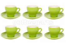 Premier Tazze 180ml cappuccino tulip cups and saucer, set of 6, colour: green