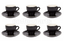 Premier Tazze 180ml cappuccino tulip cups and saucer, set of 6, colour: matt black