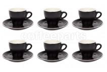 Premier Tazze 180ml cappuccino tulip cups and saucer, set of 6, colour: matt black