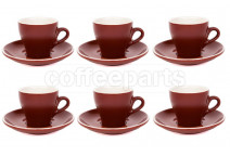 Premier Tazze 180ml cappuccino tulip cups and saucer, set of 6, colour: matt brown