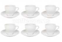 Premier Tazze 180ml cappuccino tulip cups and saucer, set of 6, colour: white