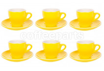 Premier Tazze 180ml cappuccino tulip cups and saucer, set of 6, colour: yellow
