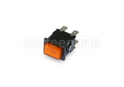 Orange 2-pole luminous switch