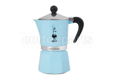 Bialetti 3 Cup Moka Rainbow Coffee Maker: Light Blue