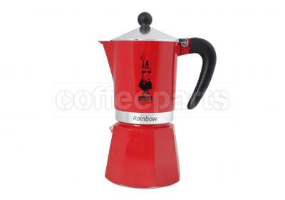 Bialetti 6 Cup Moka Rainbow Coffee Maker: Red