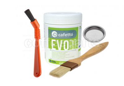 Organic Cleaning Kit inc Cafetto 500g, Blind Filter, Brushes