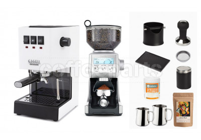 Gaggia Classic: White & Breville Smart Grinder Machine Package