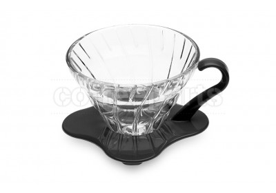 Hario 1-Cup V60 Glass with Black Handle Coffee Dripper