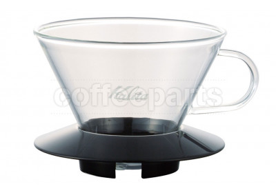 Kalita 155 Glass Coffee Dripper w/ Black Handle (uses Wave Filters)