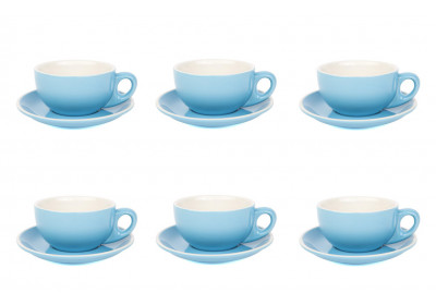 Premier Tazze 280ml cappuccino large bowl cups and saucer, set of 6, colour: sky blue