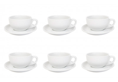 Premier Tazze 220ml cappuccino bowl cups and saucer, set of 6, colour: white