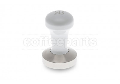 Reg Barber 58.3mm tamper with powder coated pearl white handle