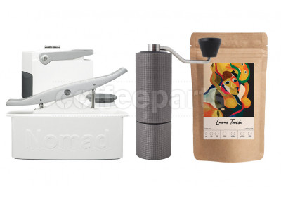 Nomad Camping kit inc Nomad, Timemore C2 Grinder and 250g Coffee: White